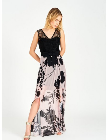 Rinascimento Vestido largo combinado cuerpo de encaje