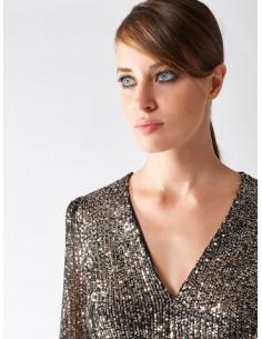 Rinascimento Vestido corto plata con lentejuelas